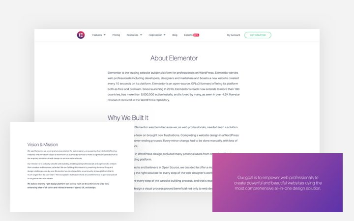 Elementor About Us Page