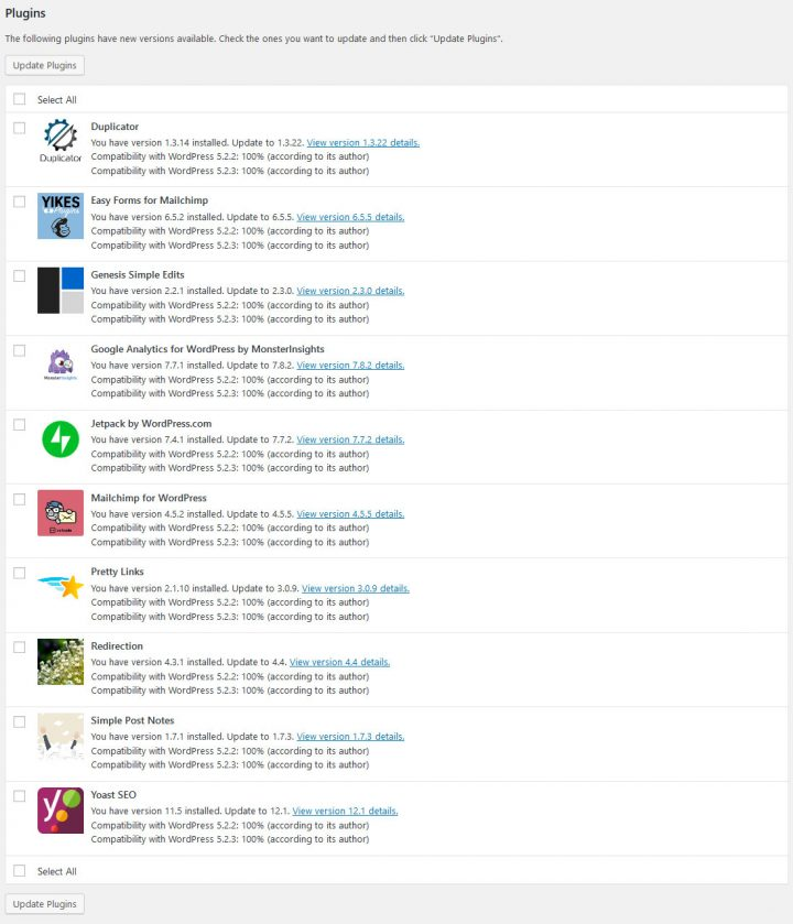 Dasboard plugin updates