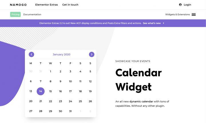 Elementor Extras Calendar
