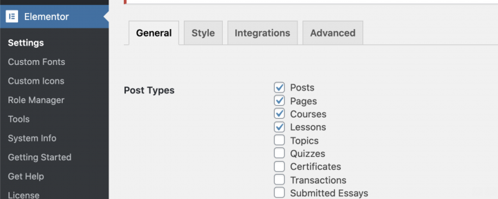 Enable Elementor on course lesson pages