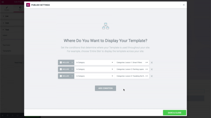 Setting-template-conditions-triggers-elementor-wordpress-course