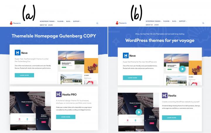 ThemeIsle homepage comparison