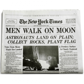 a picture of an old newspaper with the moon landing on the cover