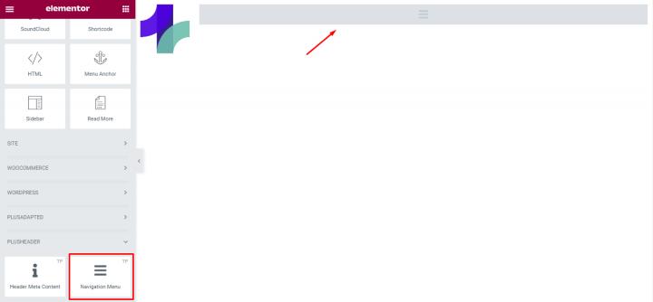 add Navigation Menu widget from The Plus Addons