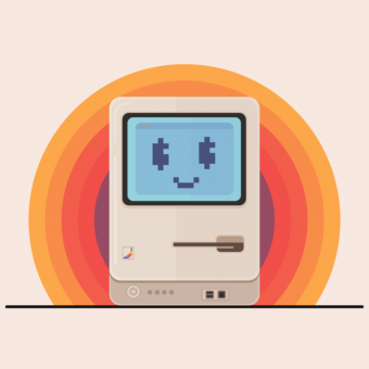 an illustration of a happy 80's macintosh computer