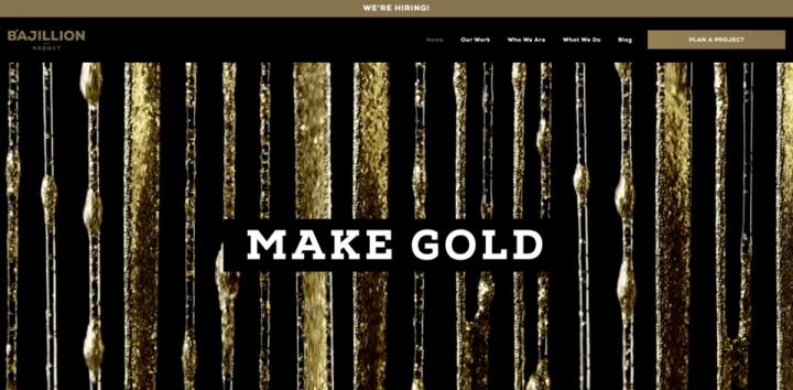 bajillion agencys original homepage