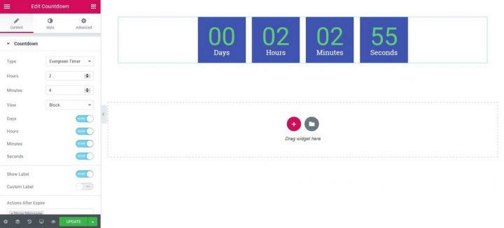 countdown timer using elementor