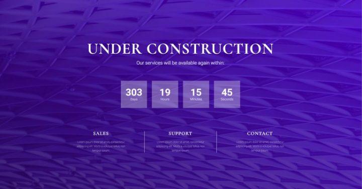 elementor under construction template - purple
