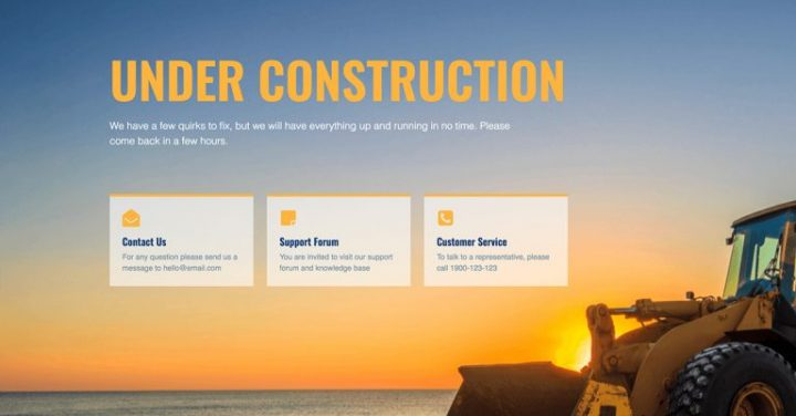 elementor under construction template - yellow