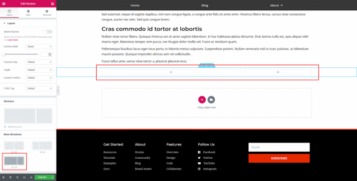a screenshot of configuring the post footer