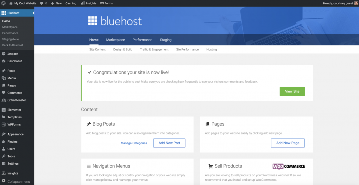 bluehost's deployment confirmation window