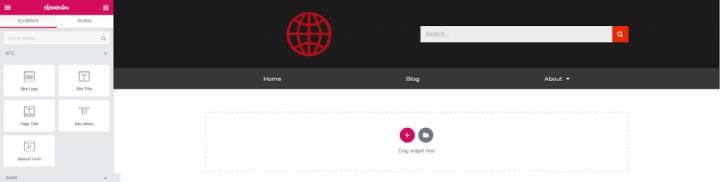 a screenshot of header customization with elementor