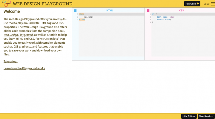 an example of the web design playground