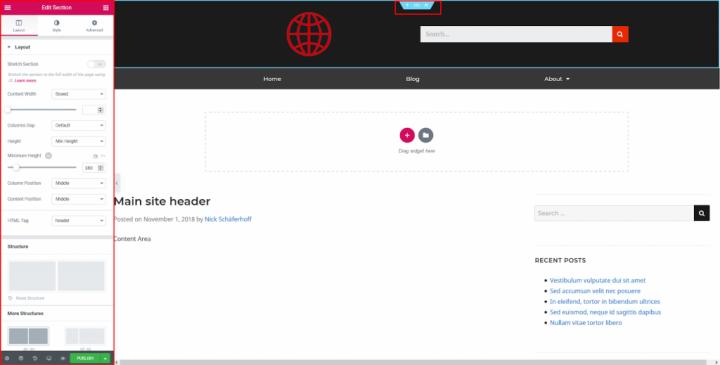 a screenshot of header customization with elementor - additional features