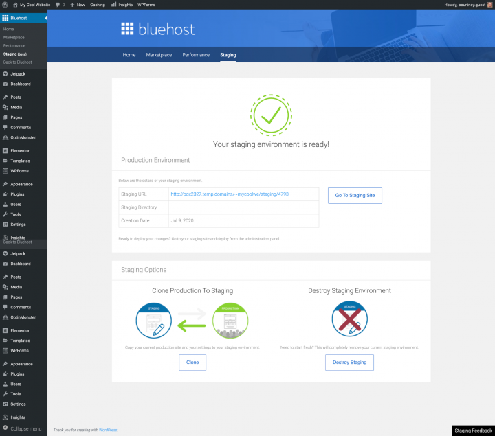 a screenshot of bluehost's staging environment