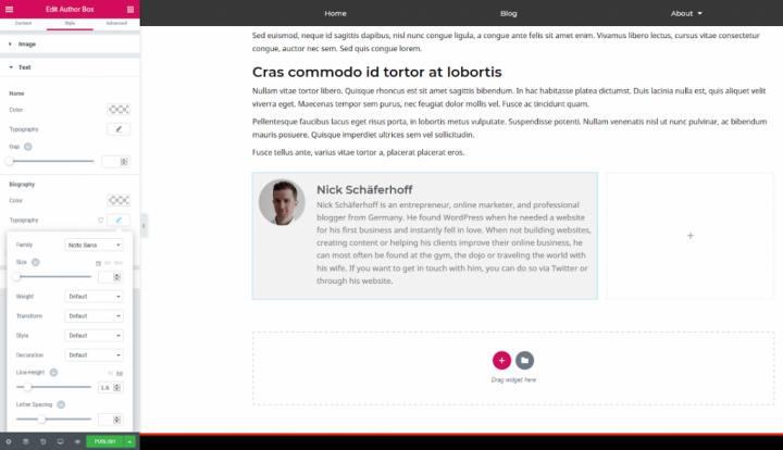 a screenshot of placing the author box widget