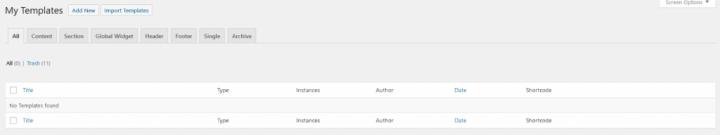 a screen shot of elementor's my templates
