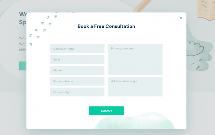 booking form example elementor