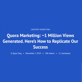 quora marketing - one million views generated