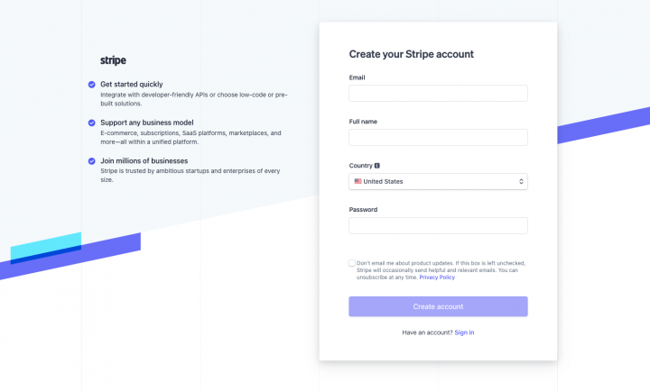 stripe sign up form example