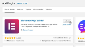 Add Elementor plugin to your WordPress Website