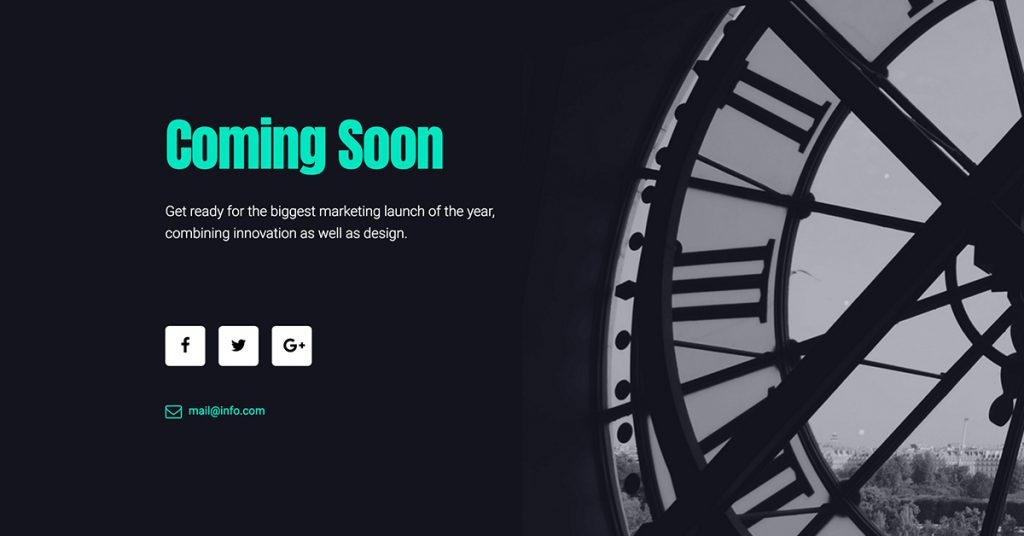 a classic u0026 free coming soon template also featuring a clock element this template is another example of using black and white colors as well as another