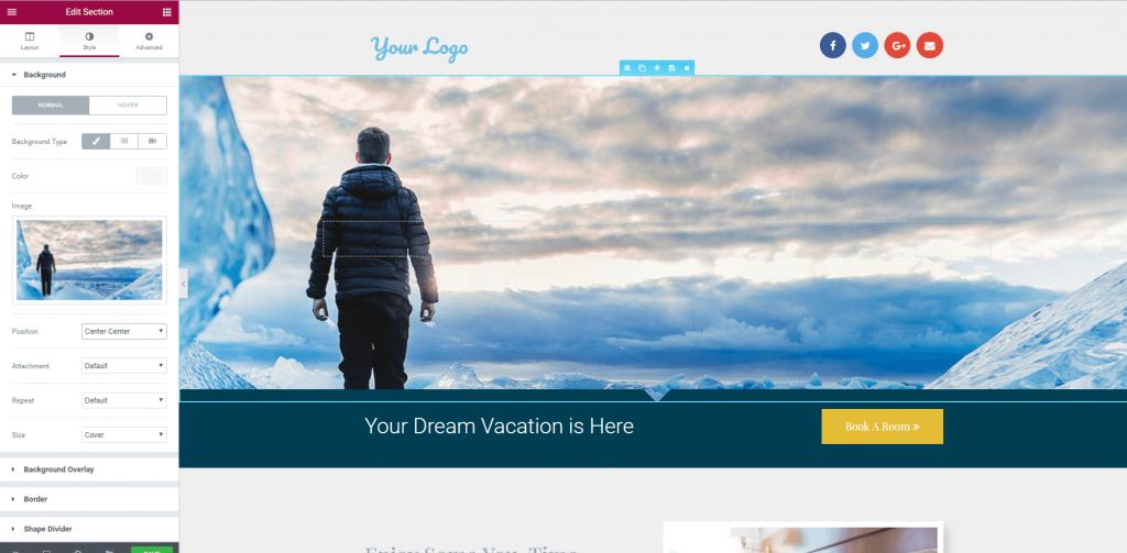 Background image for WordPress