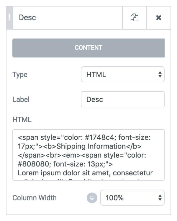 Form HTML field
