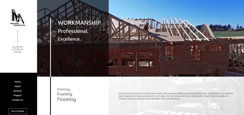 a screenshot of the Mrozinski Construction website.