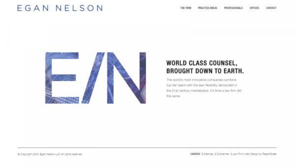 a screenshot of the Egan Nelson website.