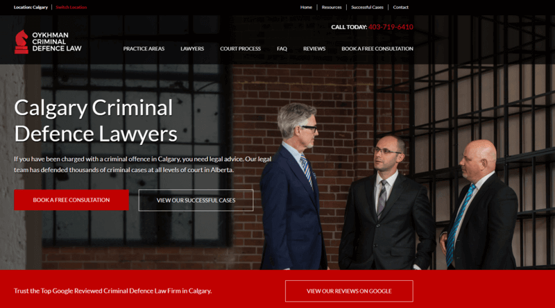 a screenshot of the Calgary Criminal Defence Lawyers website.