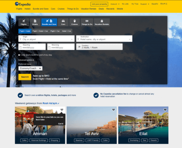 a screenshot of the expedia website.