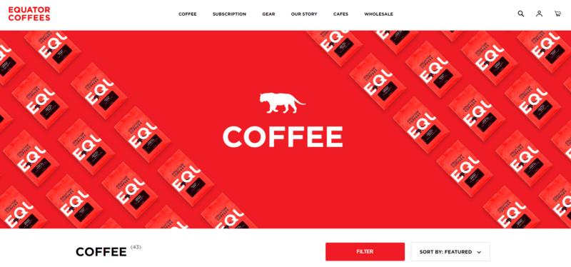 a screenshot of the Equator Coffees website.