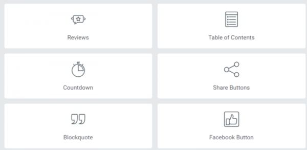 a screenshot of elementor's widgets.