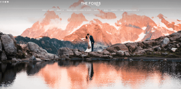 a screenshot of the The Foxes Photography website.