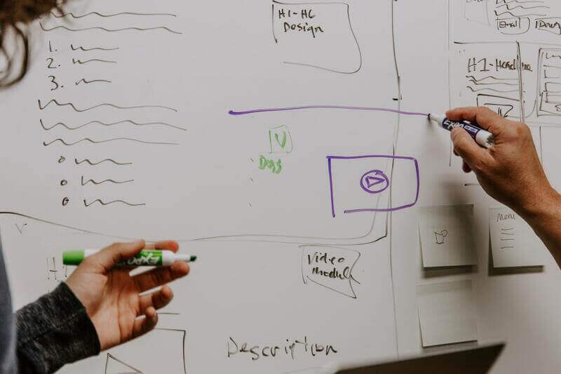 an image of a whiteboard with a drawn plan.