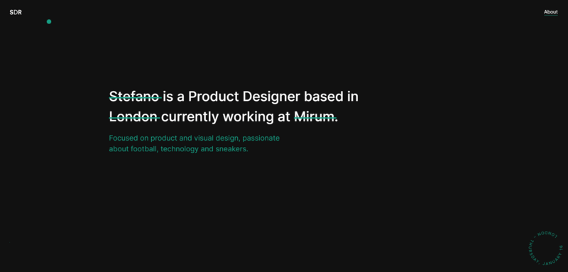 a screenshot of the Stefano De Rosa website.