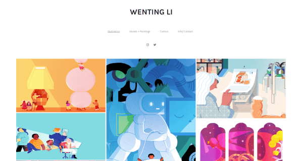a screenshot of the Wenting Li website.