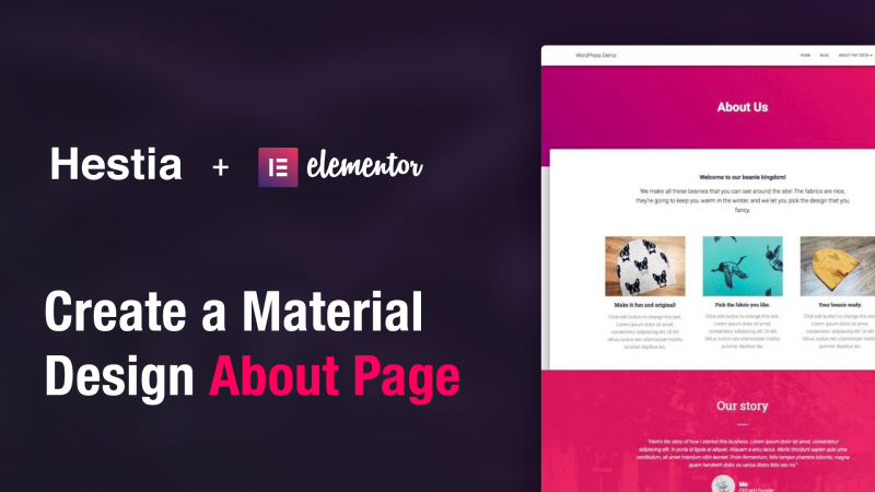 How to Create a Material Design About Page Using Elementor and Hestia
