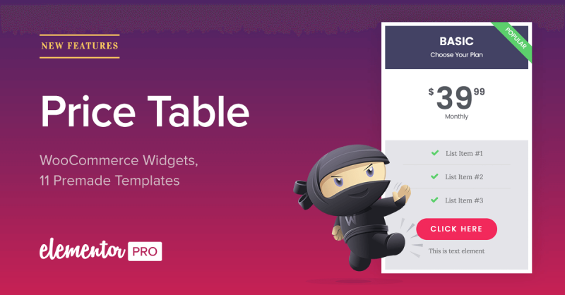 Sell More With Elementor Pro: New Price Table & WooCommerce Widgets