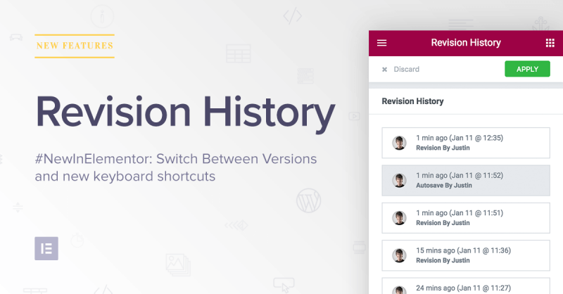 #NewInElementor: Revision History. Switch Between Previous Design Versions